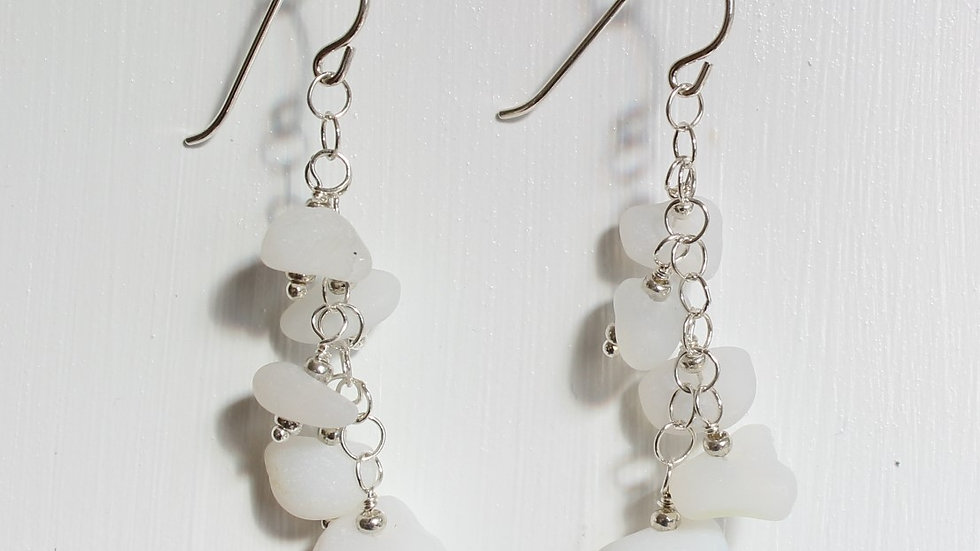White Sea Glass Sterling Silver Earrings by Victoria -20036