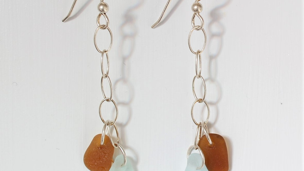 Seafoam and Amber Sea Glass Dangle Sterling Silver Earrings by Nicola -143