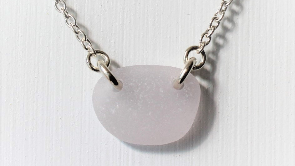 Lavender Double Drilled Sea Glass Sterling Silver Necklace by Nicola -469