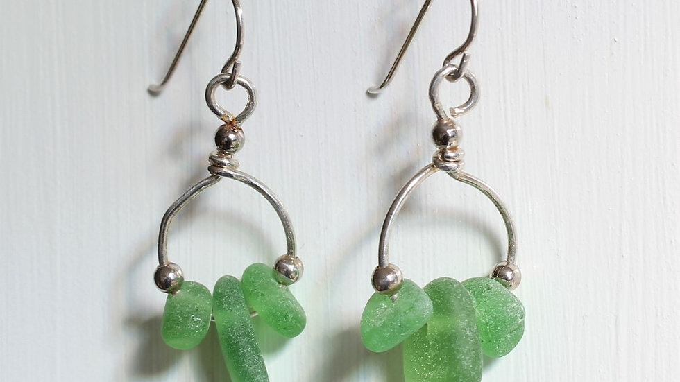 Green Sea Glass Sterling Silver Earrings by Victoria -18251