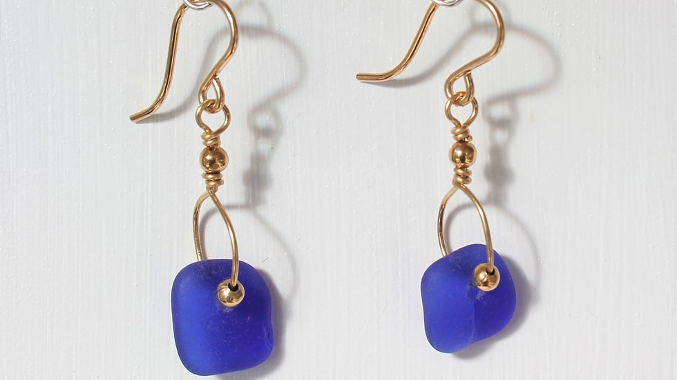 Cobalt Sea Glass 14k Gold Filled Earrings by Victoria -19028