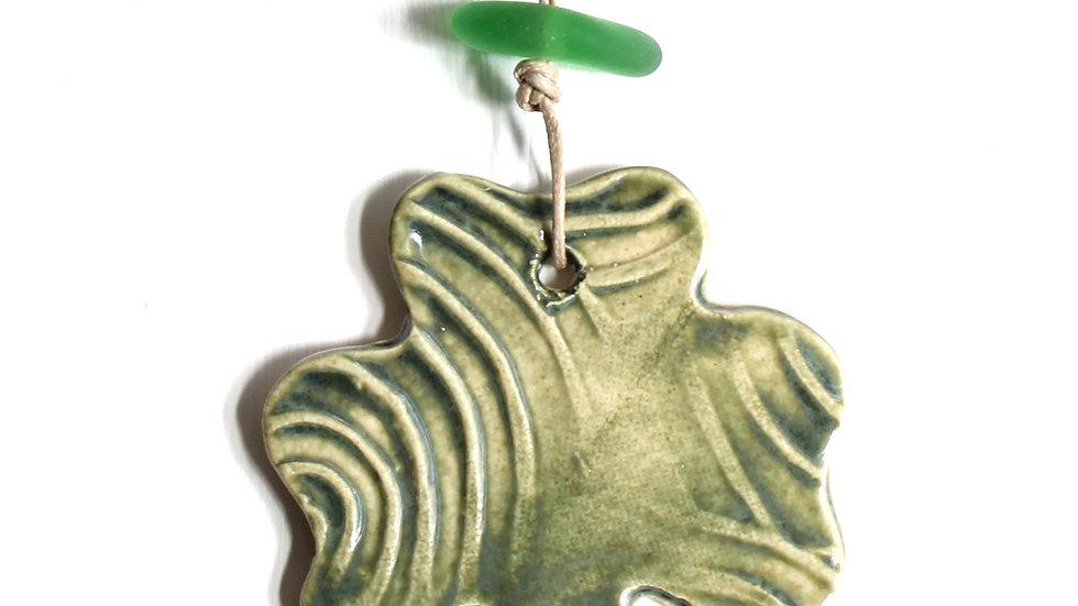 Green Shamrock Ceramic Ornament w/ Sea Glass by Jen -9085