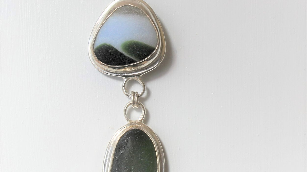 Dark Green and While Multi Sea Glass Double Bezel Necklace by Nicola -114
