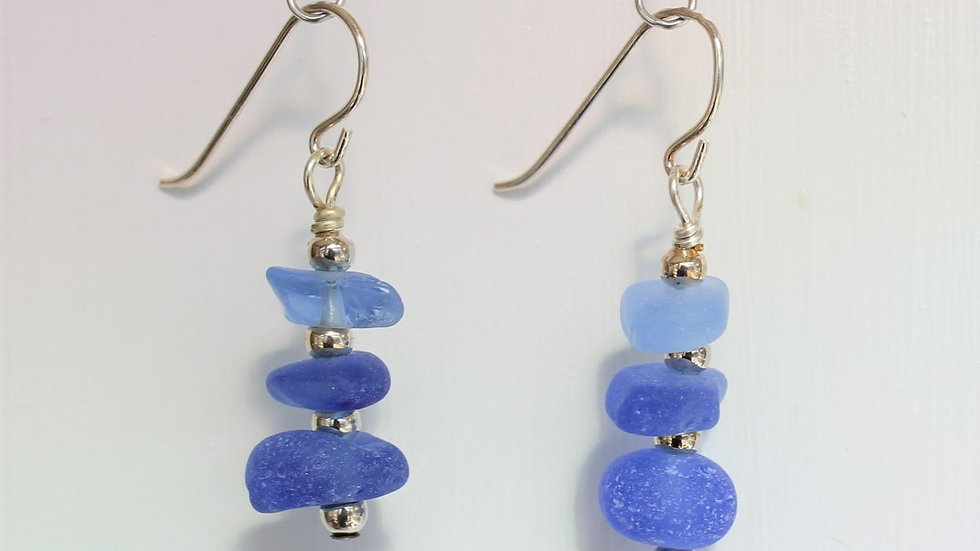 Cornflower Blue Sea Glass Sterling Silver Earrings by Victoria -19011