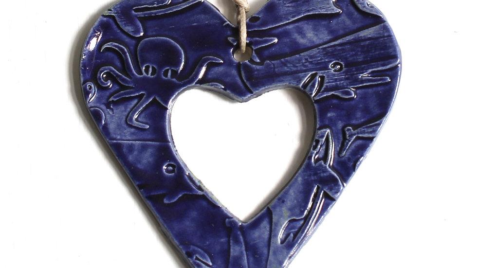 Dark Blue Heart Ceramic Ornament by Jen -9073