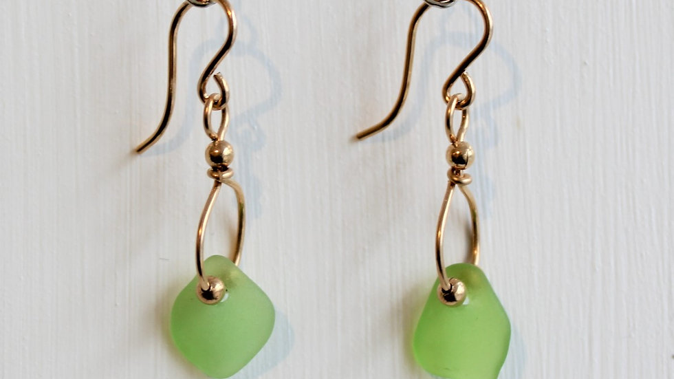 Lime Green Sea Glass 14k Gold Filled Earrings by Victoria -18308