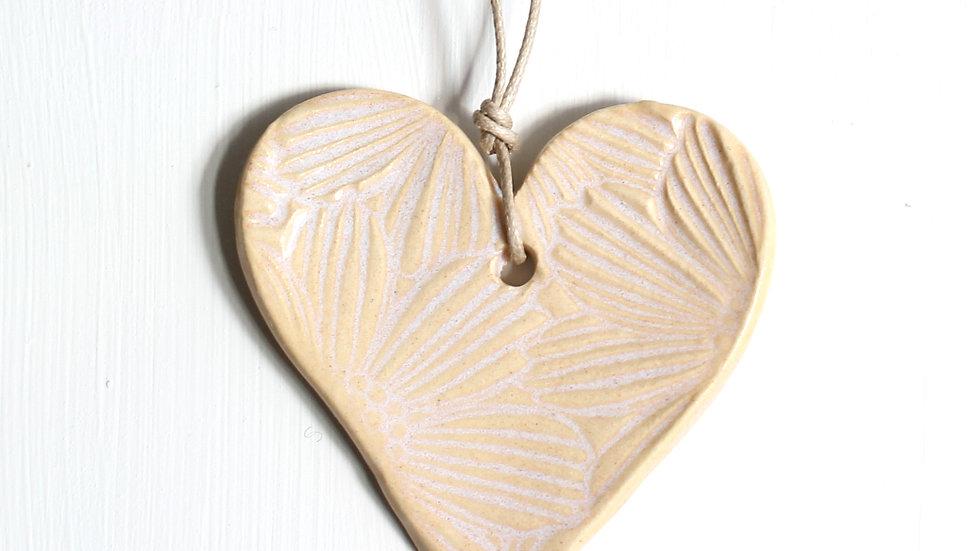 Cream Heart Ceramic Ornament by Jen -9116