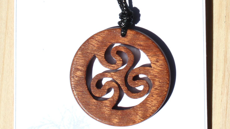 Triskele Carved Wood Pendant on 18 inch leather cord - Sapele