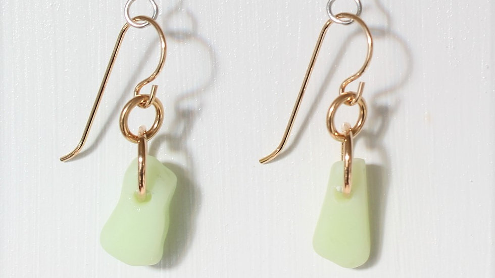 Jadeite Sea Glass 14k Gold Filled Earrings by Victoria -20043