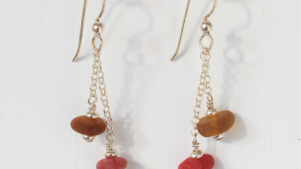 Red and Amber Sea Glass Sterling Silver Earrings by Nicola -144