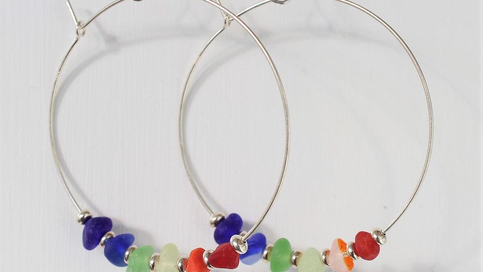 Rainbow Sea Glass Sterling Silver Hoop Earrings by Nicola -429
