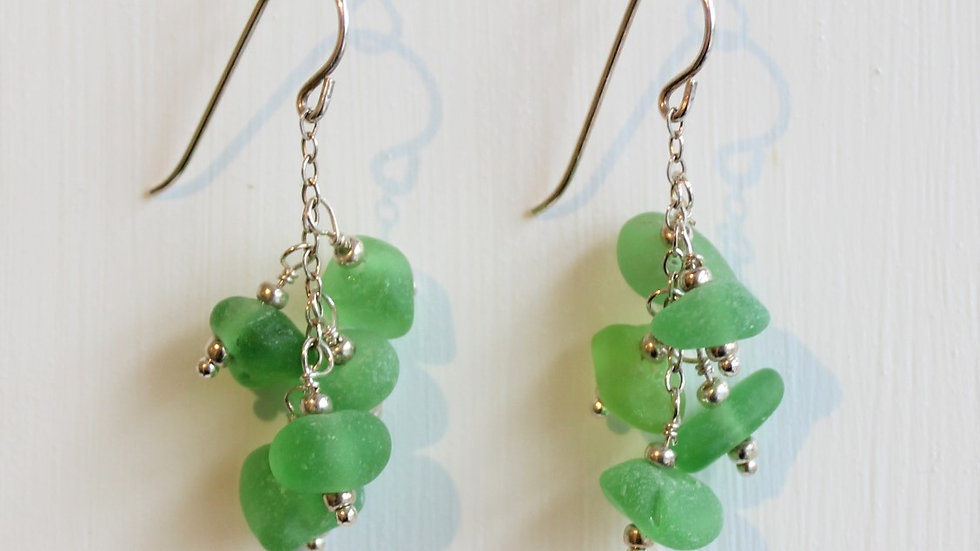 Green Sea Glass Sterling Silver Earrings by Victoria -19204