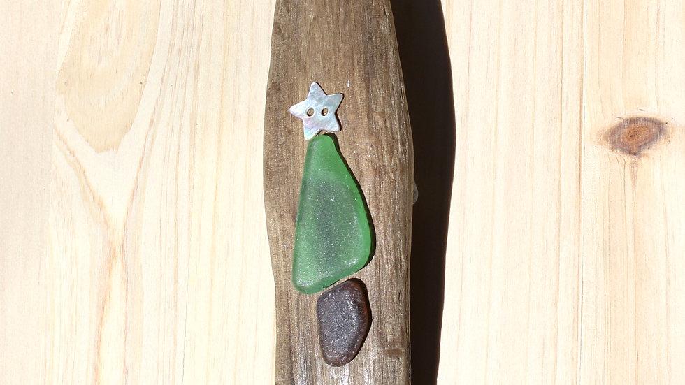Tree Ornament Sea Glass Driftwood by Nicola -375