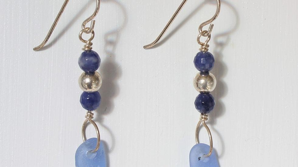 Cornflower Blue Sea Glass Lapis Sterling Silver Earrings by Victoria -19263