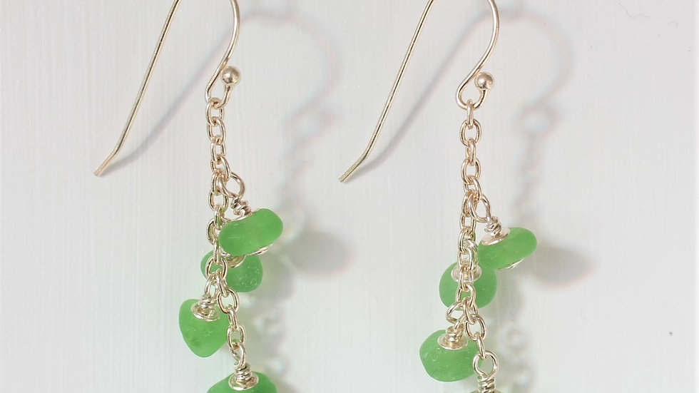 Green Sea Glass Sterling Silver Earrings by Nicola -199