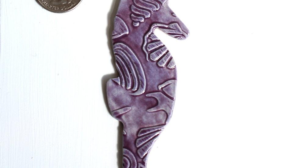 Purple Seahorse Ceramic Ornament by Jen -9291