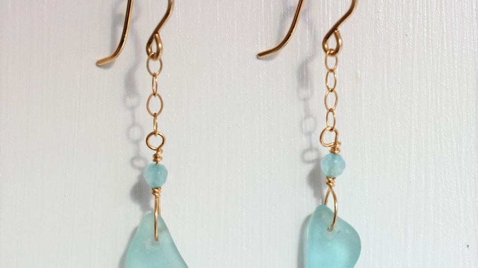 Aqua Sea Glass 14k Gold Filled Earrings by Victoria -19170
