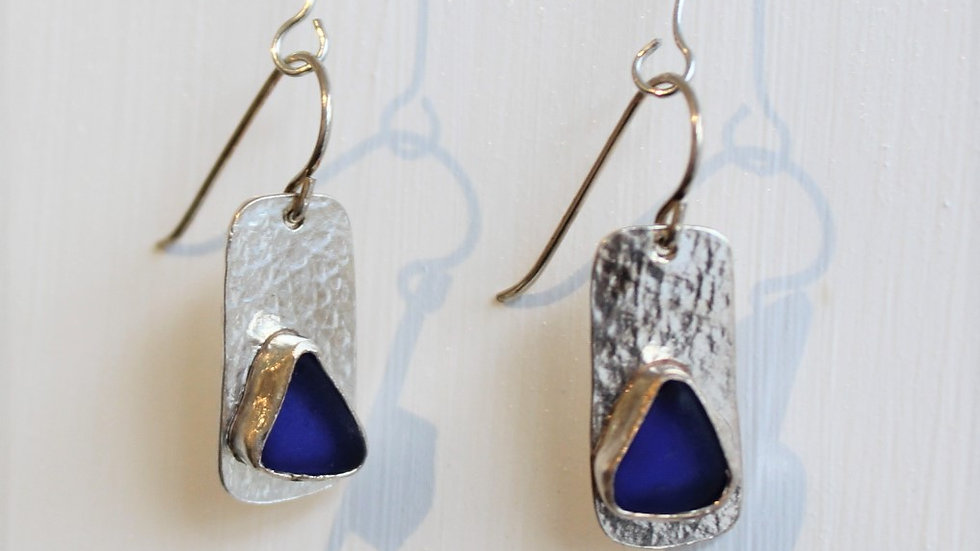 Cobalt Sea Glass Sterling Silver Bezel Earrings by Victoria -18068