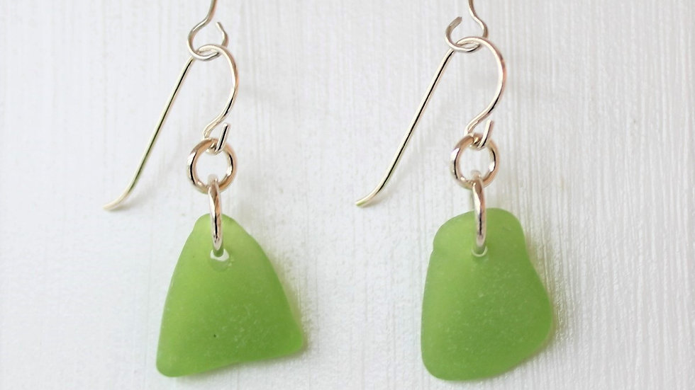 Lime Green Sea Glass Sterling Silver Earrings by Victoria -20029