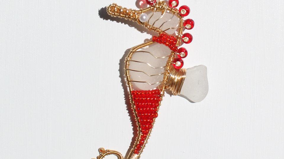 Seahorse Sea Glass Ornament by Victoria -19385