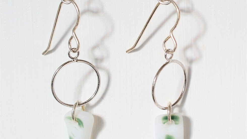 Green and White Multi Sea Glass Sterling Silver Earrings by Nicola -262