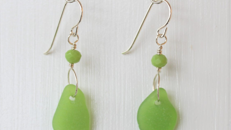 Lime Green Sea Glass Sterling Silver Earrings by Victoria -20028