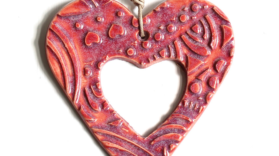 Red Heart Ceramic Ornament by Jen -9071