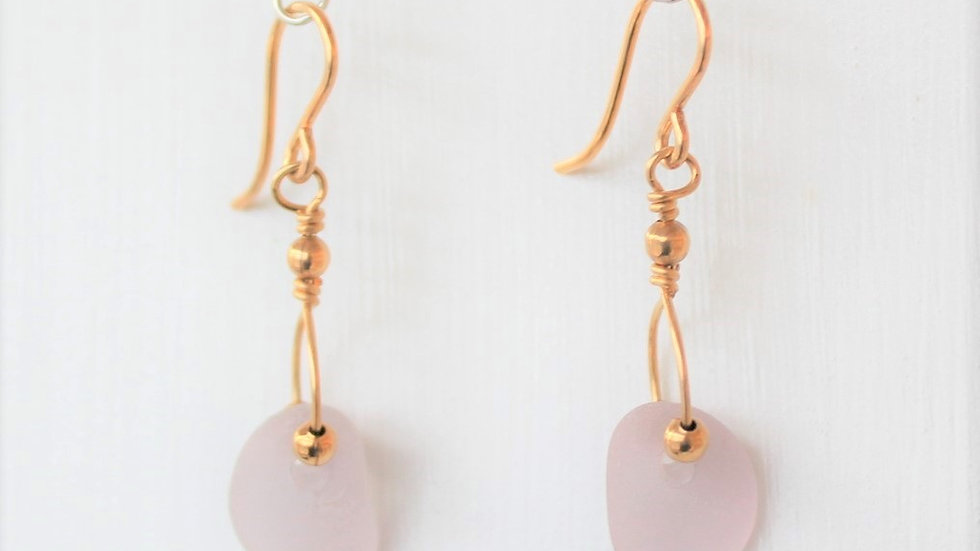 Lavender Sea Glass 14k Gold Filled Earrings by Victoria -19025