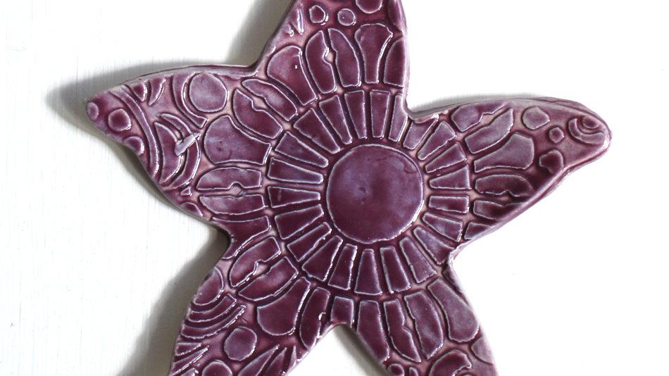 Purple Starfish Ceramic Ornament by Jen -9283