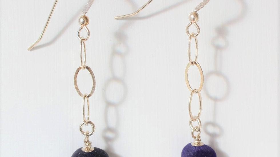 Dark Blue Sea Glass Sterling Silver Earrings by Nicola -180