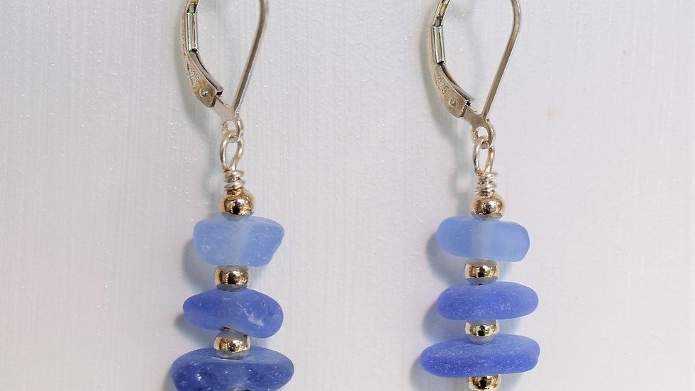 Cornflower Blue Sea Glass Sterling Silver Earrings by Victoria -19013