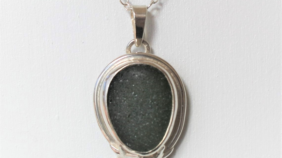 Dark Green Sea Glass Sterling Silver Bezel Necklace by Nicola -122