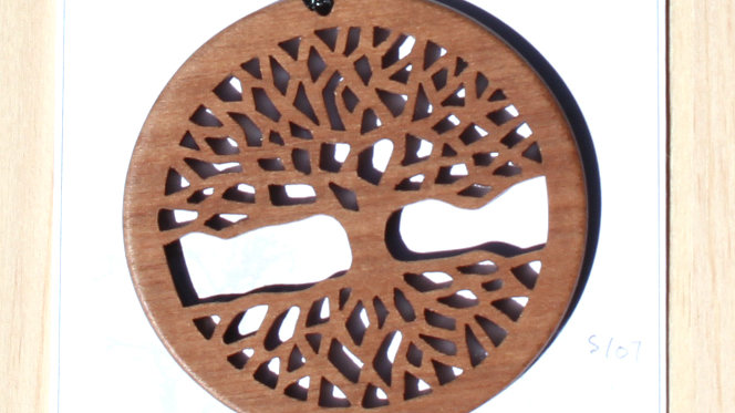 Tree of Life Carved Wood Pendant on 20 inch leather cord - Walnut