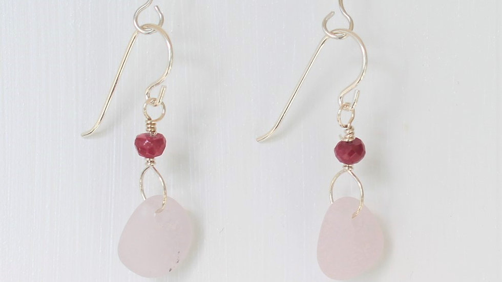 Lavender Sea Glass Ruby Sterling Silver Earrings by Victoria -20025