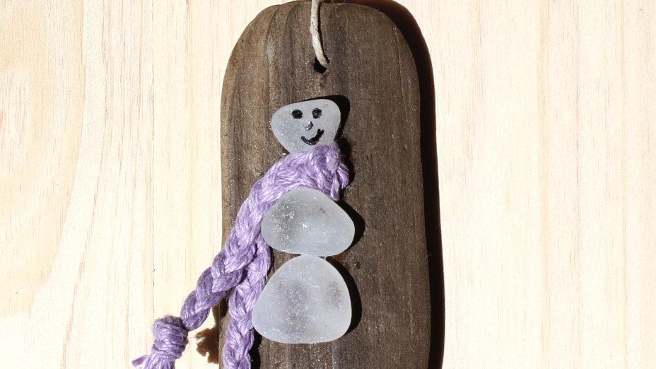 Snowman Ornament Sea Glass Driftwood by Nicola -414