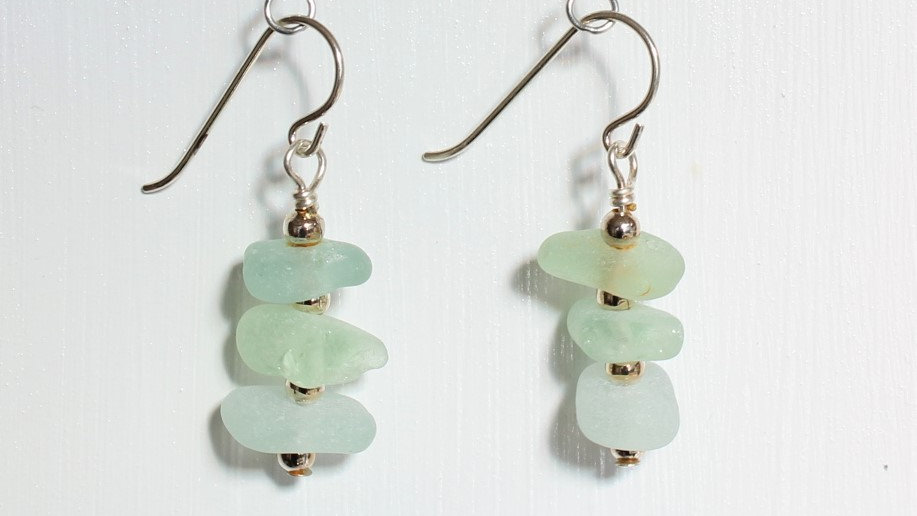 Light Green Sea Glass Sterling Silver Earrings by Victoria -19014