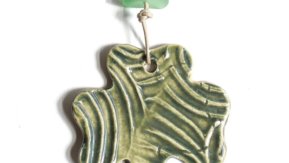Green Shamrock Ceramic Ornament w/ Sea Glass by Jen -9079