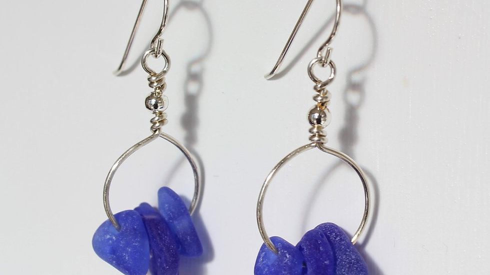 Cobalt Sea Glass Sterling Silver Earrings by Victoria -20034