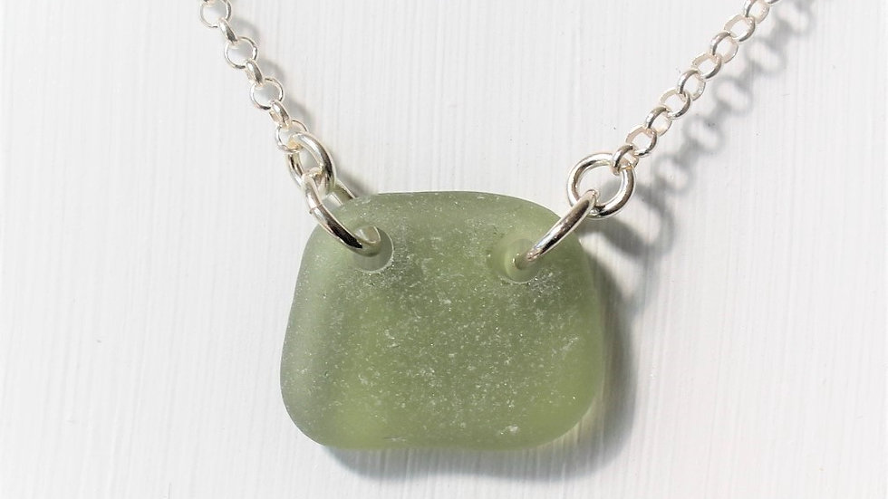 Green Grey Double Drilled Sea Glass Sterling Silver Necklace by Nicola -471
