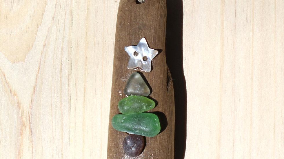Tree Ornament Sea Glass Driftwood by Nicola -361