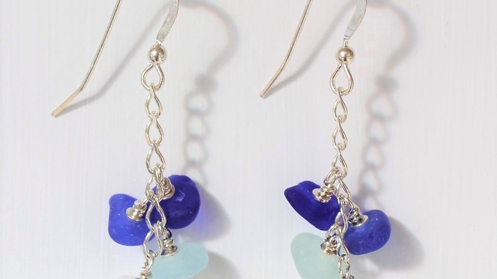 Blue Aqua and White Sea Glass Sterling Silver Earrings by Nicola -195