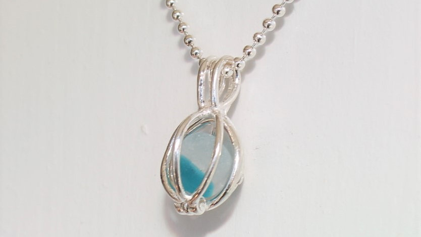 Turquiose Multi Sea Glass Sterling Silver Cage Necklace by Nicola -489