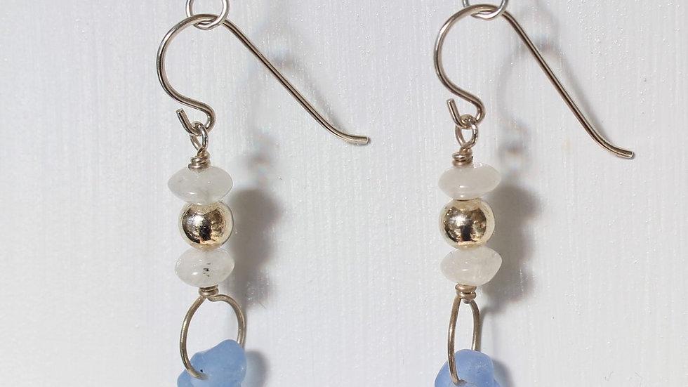 Cornflower Blue Sea Glass Moonstone Sterling Silver Earrings by Victoria -19262
