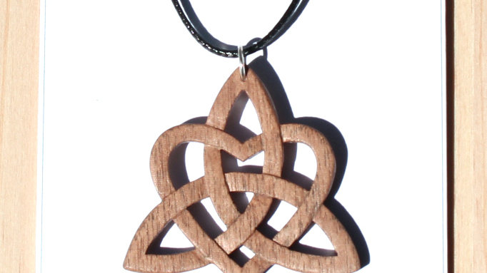 Celtic Knot Heart Carved Wood Pendant on 18 inch leather cord - Walnut