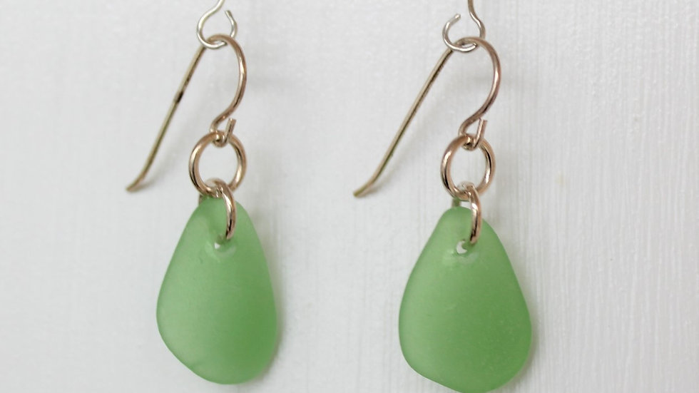 Green Sea Glass Sterling Silver Earrings by Victoria -18078