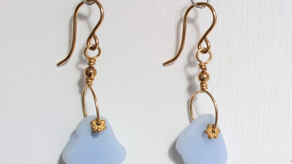 Light Blue Opaque Sea Glass 14k Gold Filled Earrings by Victoria -19035