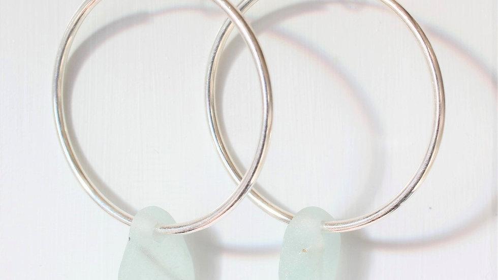Seafoam Sea Glass Sterling Silver Hoop Earrings by Nicola -462