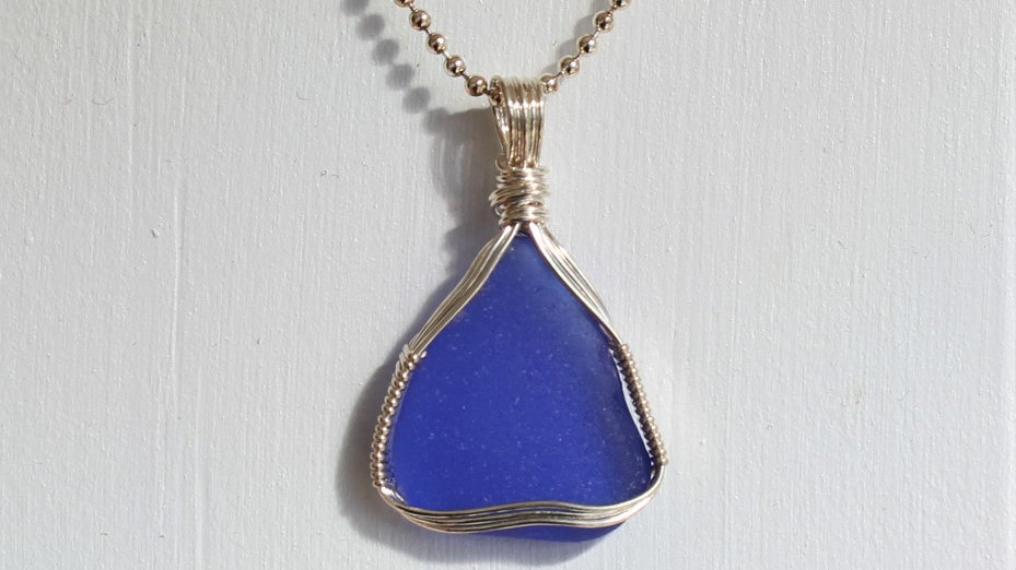 Cobalt Sea Glass Sterling Silver Necklace by Victoria -19233