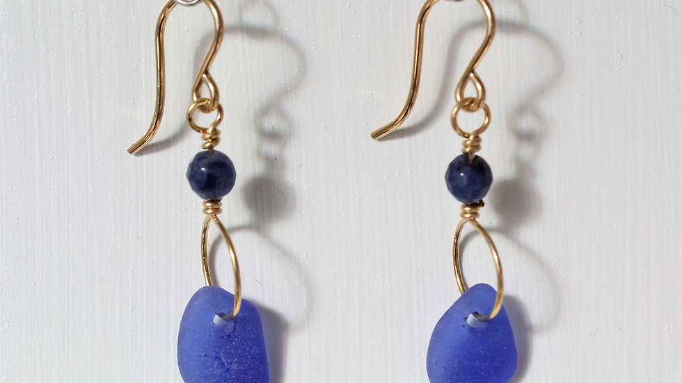 Cobalt Sea Glass 14k Gold Filled Earrings by Victoria -19110