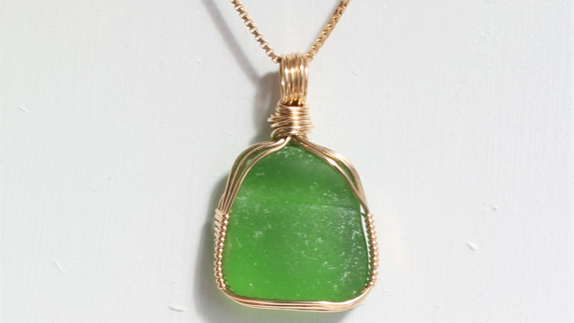 Lime Green Sea Glass 14k Gold Filled Necklace by Victoria -20054